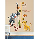 27 Piece Kids Yellow Grey Green Lion King Wall Decals Set, Disney Themed Wall Stickers Peel Stick, Cute Animated Lions Monkey Simba Zebra Safari Africa Rhino Decorative Mural Art, Vinyl