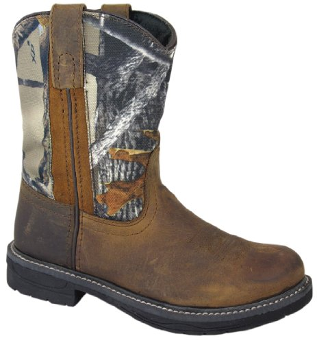 Smoky Mountain Childrens Buffalo Wellington Distressed Leather Round Toe Brown/Camo Western Cowboy Boot (Kids Leather Distressed)