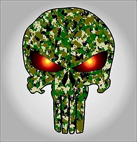 Green digital camouflage punisher sticker / decal
