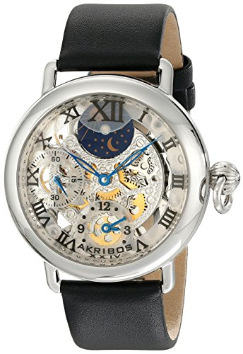 Akribos XXIV Men's AKR451SS Bravura Mechanical Dual Time Skeleton Stainless Steel Watch
