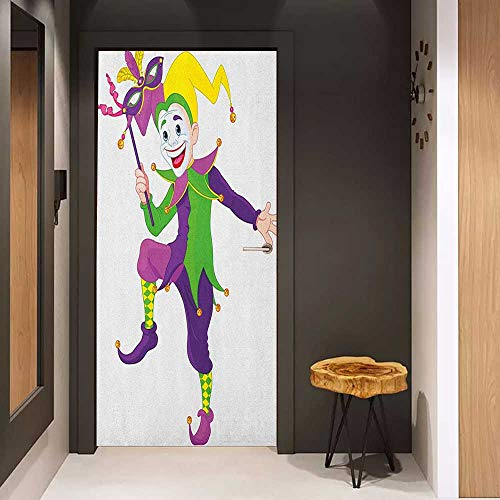 Onefzc Pantry Sticker for Door Mardi Gras Cartoon Style Jester in Iconic Costume with Mask Happy Dancing Party Figure Sticker Removable Door Decal W30 x H80 Multicolor]()