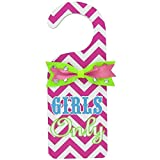 Pink & Chevron Girls Only Door Hanger Wall Decoration Girls Room Decore