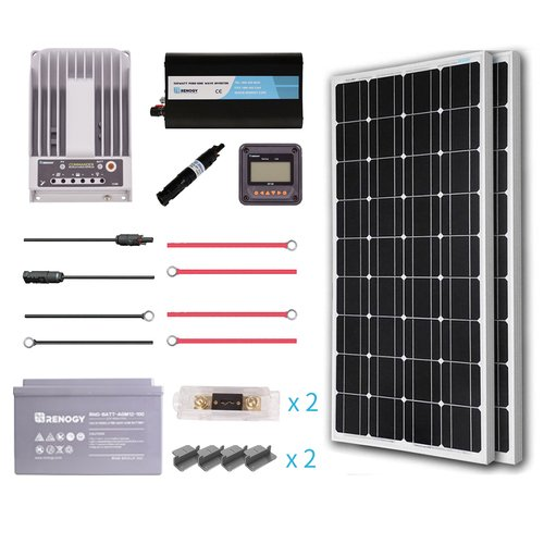 Renogy 200 Watt 12 Volt Solar Complete Kit Monocrystalline with MPPT Charge Controller +Mounts+ 100AH AGM Battery+ 500W Pure Sinve Inverter