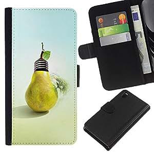 KLONGSHOP // Tirón de la caja Cartera de cuero con ranuras para tarjetas - Diseño Pera del bulbo - Sony Xperia Z3 D6603 //