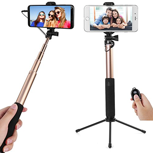 City Sightseeing [Gold] Selfie Stick Tripod Base Huawei P20, P20 Pro, Nova 3, Mate 20 Lite, Porsche Design Mate RS/10, Mate 10, Mate 10 Pro, P10, P10+, Y7, Y6, Y9, Y5, P Smart, Mate 9]()