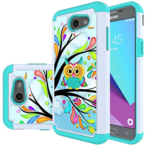 Samsung Galaxy J3 Mission / J3 Eclipse / J3 Emerge / J3 Prime / J3 Luna Pro / Sol 2 / Amp Prime 2 / Express Prime 2 Case, MicroP Hybrid Dual Layer Silicone Phone Case for J3 2017(Green Owl) (Owl Phone Case For Samsung Galaxy)