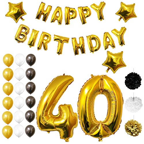 40th Happy Birthday Party Balloons, Supplies & Decorations by Belle Vous - 26 Pc Set - Large 40 Year Foil Balloon - Decor Suitable for All Adults (Gold & Black)