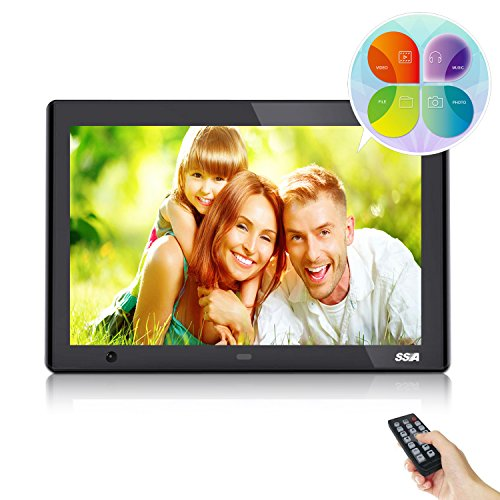 SSA 10-Inch HD Digital Photo Frame with Motion Sensor High Resolution IPS LCD 1080P MP3 Photo Video & Music Playback, Calendar & Remote Control Unique Design (Black) by SSA
