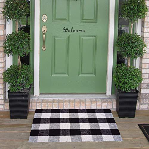 Homcomoda Buffalo Plaid Mat Checkered Kitchen Rugs Cotton Area Floor Rug Door mats for Kitchen Living Room Bedroom-24 by 35