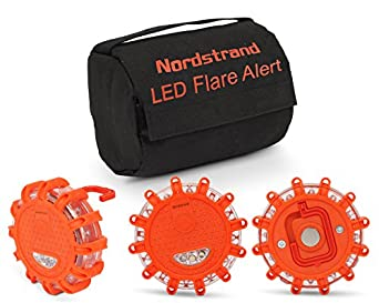 Set Of 3 Nordstrand Led Flares Emergency Roadside 9.1.1 Lights Flashing Road Beacon   With Magnetic Base For Car Or Marine   Storage Bag   Rainproof Amber by Nordstrand
