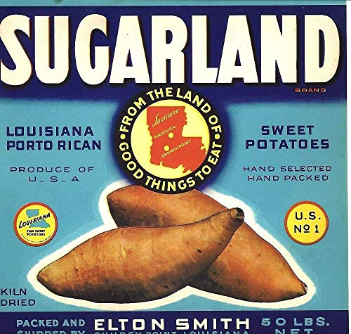 ShopForAllYou Posters & Prints Picture Art Sugarland Sweet Potatoes Food Crate Label Art Poster
