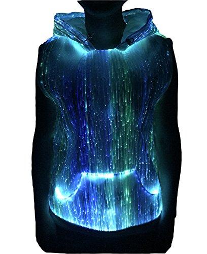 Womens RGB LED Light up Fiber Optic Sleeveless T-Shirt Hoodie Dance Club Wear (S, White) -