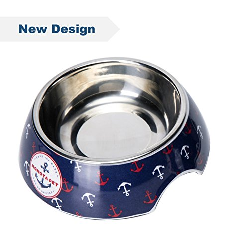 OUMAL Navy Dog Food Bowl Non-skid Melamine Stand with Removable Stainless Steel Bowl for Cat and Puppy(S, Navy)