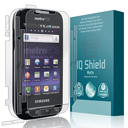 IQ Shield Matte Full Coverage Anti-Glare Full Body Skin + Screen Protector for Samsung Forte (R-910) Anti-Bubble Film