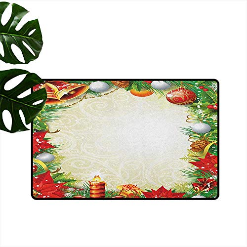 RenteriaDecor New Year,Bath Carpet Abstract Swirled Background with Xmas Tree Pattern Baubles Candle Festive Theme 36