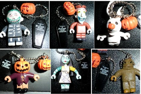 Disney Nightmare Before Christmas Pumpkin Halloween-Town Keychain 6-Piece Holiday Edition Keychain Collection Bundle Set -