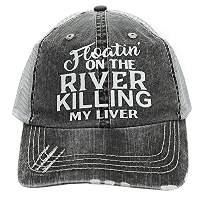 Women's Baseball caps Floatin' On The River Killing My Liver Trucker Style hat Black/Grey