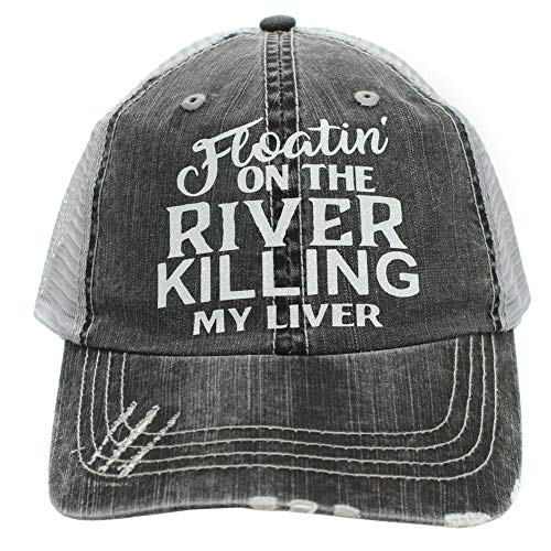 Women's Baseball caps Floatin' On The River Killing My Liver Trucker Style hat Black/Grey]()