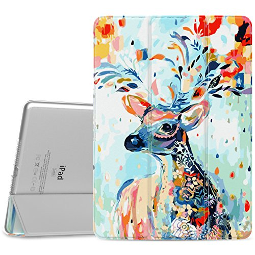 "Price comparison product image MoKo Case Fit iPad Air 2 - Slim Lightweight Smart Shell Stand Cover with Translucent Frosted Back Protector Fit iPad Air 2 9.7"" Tablet,  Christmas Deer (with Auto Wake / Sleep,  Not fit iPad Air)"