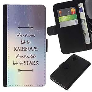 KingStore / Leather Etui en cuir / LG Nexus 5 D820 D821 / Rainbows motivation