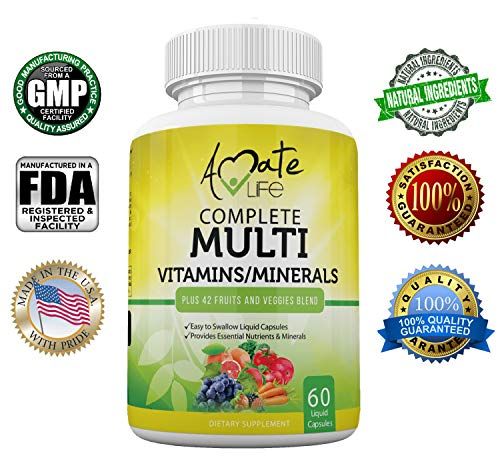 Amate Life Multivitamins/Minerals Capsules - Premium 42 Fruits and Veggies Blend - Daily Multivitamin Capsule - Antioxidant Supplement Promotes Brain Health and Healthy Joints - 60 Capsules