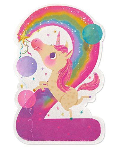 - American Greetings Unicorn 2nd Birthday Card for Girl with Glitter