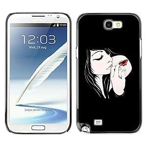 LECELL -- Funda protectora / Cubierta / Piel For Samsung Galaxy Note 2 N7100 -- Butterfly & Girl --