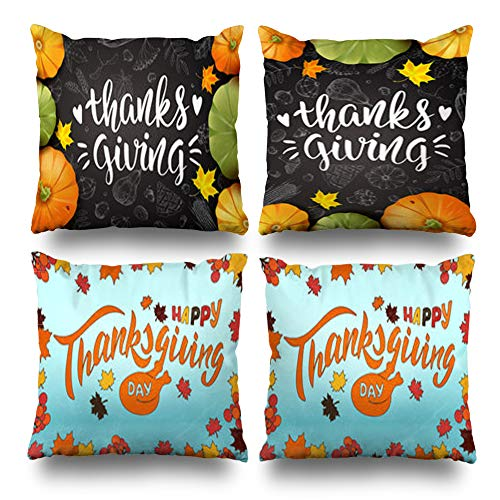 Set of 4 Decorativepillows Case Throw Pillows Covers for Couch/Bed 18 x 18 inch,Thanksgiving Day Greeting Pumpkins Maple Leaves Modern Home Sofa Cushion Cover Pillowcase Gift Bed Living Home