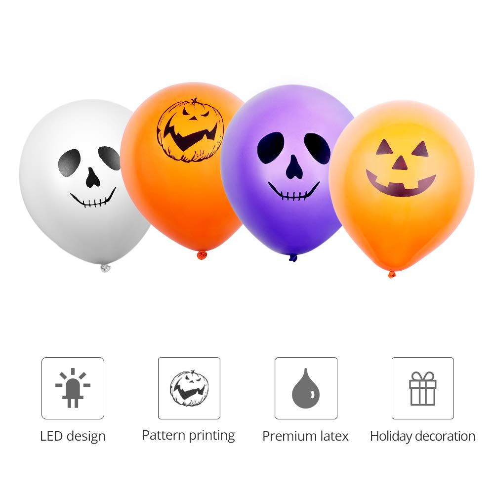 LED Balloons - 30pcs Light Up Balloons Halloween Ghost Balloon with 4 Spooky Patterns, White Orange Purple Colour, Latex Balloon Glows Up to 12 Hours Lamps Party Home Garden Lantern Halloween Decors.