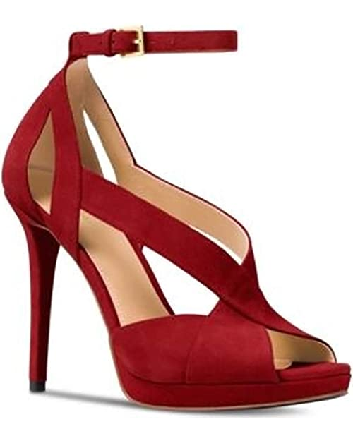 Michael Michael Kors Womens Becky Ankle Strap Open Toe Ankle, Maroon, Size 6.0 best comfortable dressy heels