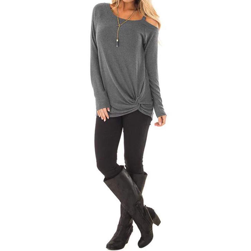 TIFENNY Womens Irregular Hem Shirt Fashion Loose Long Sleeve O-Neck Casual Solid T-Shirt Blouse Tops