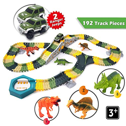 Dinosaur Race Car Track Set Toy - Jurassic World Flexible Track Playset with 192 Track Pieces, 2 Military Vehicles, 3 Dinosaurs