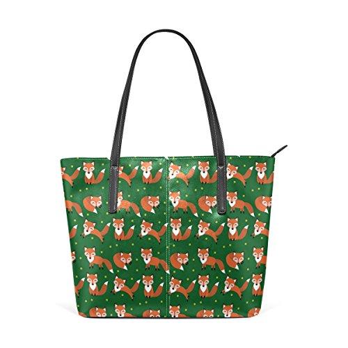 Funny Girl Tote - WOZO Funny Fox Polka Dot Green PU Leather Shoulder Tote Bag Purse for Women Girls
