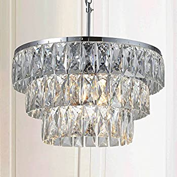 Odeon Crystal Glass Fringe 3 Tier Chandelier Chandeliers Lighting Chrome  Finish For Entryway Dining Room Bedroom Living Room