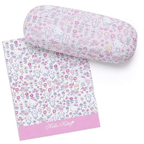 (Sanrio Original Hello Kitty Eyeglass Case & Glasses Cloth : Flower)