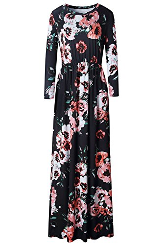 Allfennler-Womens-Floral-Print-Round-Neck-Short-Sleeve-Summer-Maxi-Dress