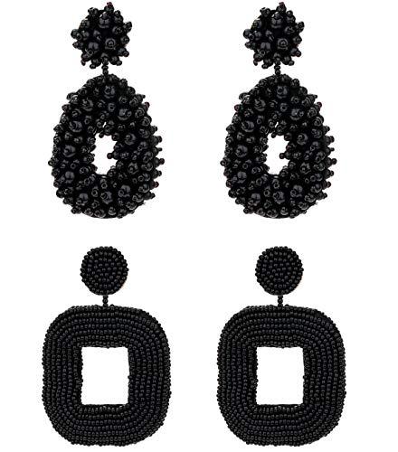 Masedy 2 Pairs Statement Beaded Earrings for Women Girls Drop Dangle Round Earrings Bohemian Handmade Earrings Set Black