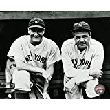 Lou Gehrig #4 and Babe Ruth #3 posed on the dugout steps circa 1932 Photo Print (11 x 14)