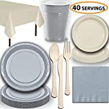 gray plastic ware - Disposable Party Supplies, Serves 40 - Silver and Cream - Large and Small Paper Plates, 12 oz Plastic Cups, heavyweight Cutlery, Napkins, and Tablecloths. Full Two-Tone Tableware Set