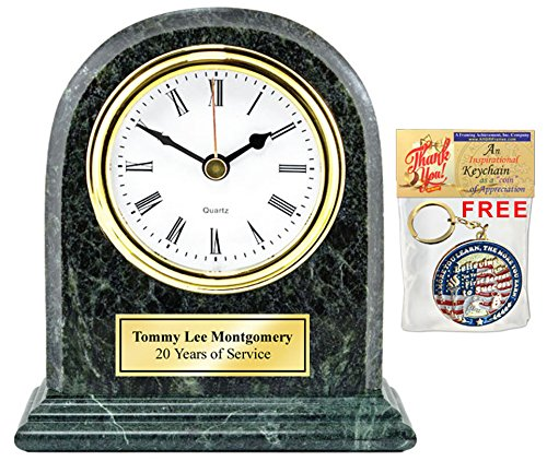 (Engraved Desk Clock Gold Engraved Plate Genuine Green Marble Arch Shelf Table Retirement Clock Gift, Business Recognition Service Award Appreciation Gift Wedding Anniversary Birthday Graduation)