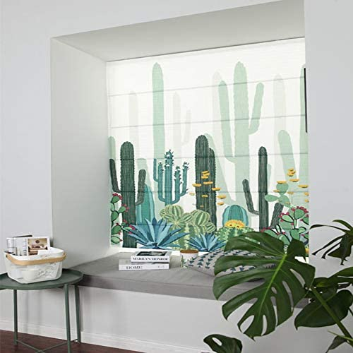 1 Piece Blackout Solid Fabric Custom Made Roman Shades for Windows Artdix Roman Shades Blinds Window Shades Cactus 20 W x 36L Inches Kitchen Doors Home Living Room
