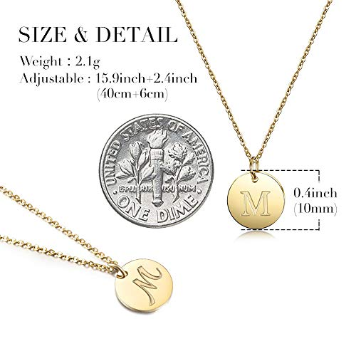 bc7fb8e08 JINBAOYING Gold Initial Necklace-14K Gold Plated Stainless Steel Disc Heart Letter  Necklace, Dainty