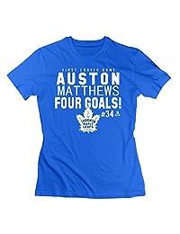 Woman's Auston Matthews Toronto Maple Leafs Royal Four Goals T-shirt