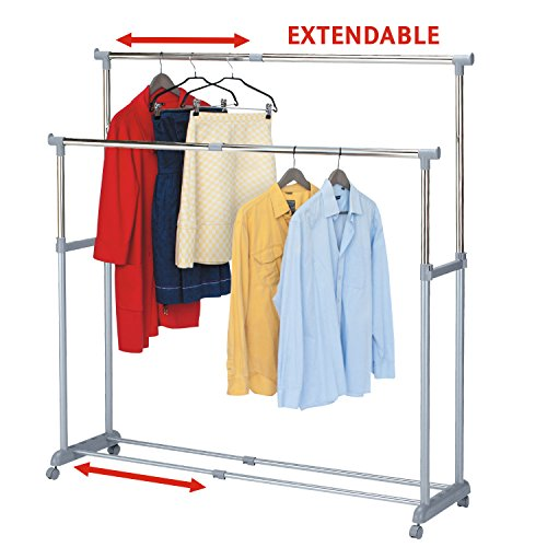 Tatkraft Big Party Double Clothes Rail Telescopic Extendable Extra Space Rack Chrome Plated Steel 63'/17'/64'