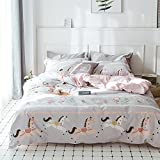 FenDie Grey Pattern Child Bed Cover Sets Twin for Boys Reversible Cotton Horse Printed Pink Girls Duvet Cover Set Durable Zipper Closure Matched