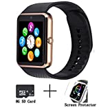 GT08 Bluetooth Smart Watch for Android phones,smart watch with SIM Card Slot,Call,Massage,For IOS iphone and Android phones Samsung ZTE Sony LG Smartphones, Sweatproof(gold-black)