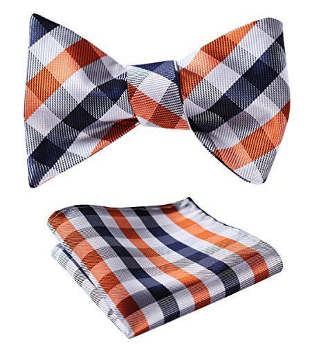 HISDERN SetSense Men's Plaid Jacquard Woven Self Bow Tie Set One Size Navy Blue / Orange