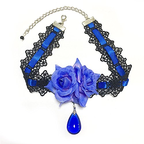 (Lolita Vampire Blue Rose Nightclub Crystal Choker Gothic Dress Retro Necklace)