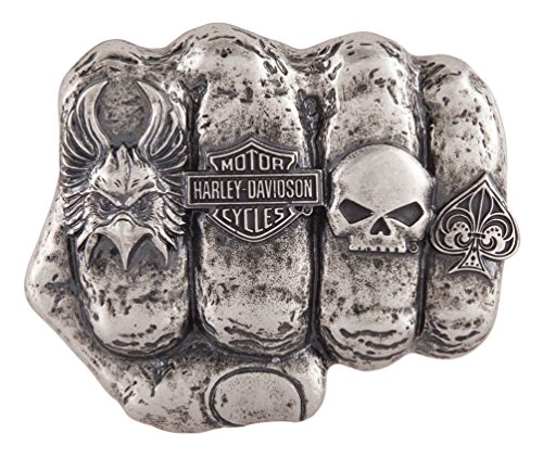 Harley-Davidson Men's Fist Forward Belt Buckle, Antique Nickel Finish -