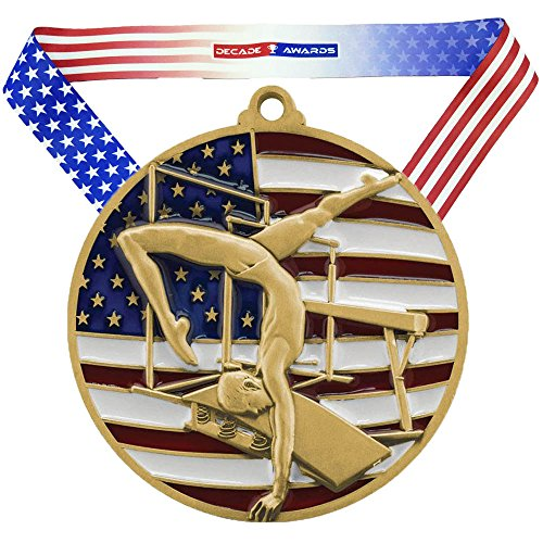 Decade Awards Gymnastics Patriotic Medal - Gold | Red, White, Blue Gymnast Award | Includes Stars and Stripes American Flag Neck Ribbon | 2.75 Inch Wide